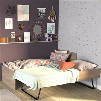 lit gigogne sun 90x190 2 sommiers ch ne blanchi. Black Bedroom Furniture Sets. Home Design Ideas