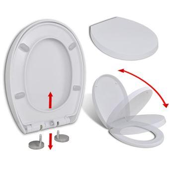 vidaXL Abattant /à Fermeture Lente Lib/ération Rapide Ovale Si/ège de Toilette