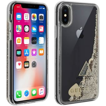 Coque iPhone X XS Protection Rigide Paillette Liquide Gue Transparent Argent
