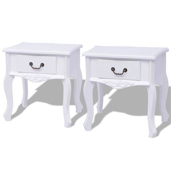 Chevet De Blanc Table Mdf Pcs 2 Vidaxl KcJl1FT