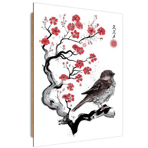 Feeby Panneau décoratif Tableau mural Art moderne, Moineau sur ceriser japonais 40x60 cm
