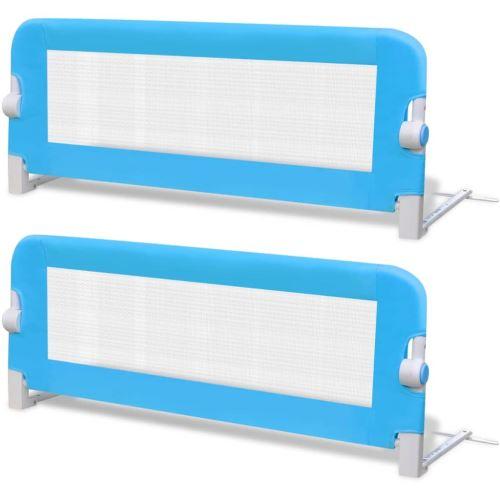vidaXL 2pcs Barrière de lit de sécurité pour tout-petits Bleu 102x42cm