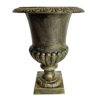 Vase Vasque Jardiniere en Fonte Vert Anglais Style Medicis Pot de Fleur  32x32x41cm