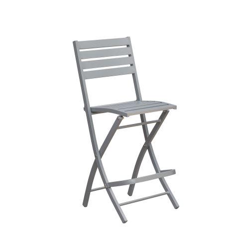Chaise haute pliante de jardin Marius - 46 x H. 110 cm - Gris