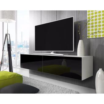 point meuble tv suspendu 200 cm blanc mat noir brillant achat prix fnac. Black Bedroom Furniture Sets. Home Design Ideas