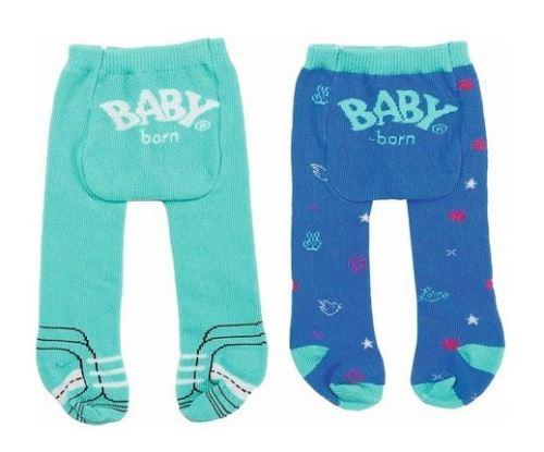 Set de 2 paires de collants (verte - bleue) baby born 43 cm - zapf - accessoire vetement poupee