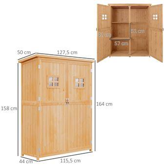 Abri de jardin armoire de jardin remise pour outils sur pied dim. 128L x  50l x 164H cm 2 étagères 2 portes 2 fenêtres toit bitumé étanche bois  massif ...