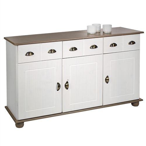Buffet COLMAR commode bahut vaisselier meuble bas rangement avec 3 tiroirs et 3 portes, en pin massif lasuré blanc et taupe