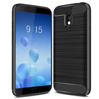 Coque pour Samsung Galaxy J3 2018,Housse [FIBRE DE CARBONE] étui de Protection en Silicone Anti-Rayures Anti-Choc [Noir]