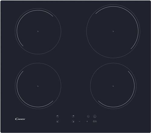 Candy CI642C - Table de cuisson à induction - 4 plaques de cuisson - Niche - largeur : 56 cm - profondeur : 49 cm - noir - avec bord droit