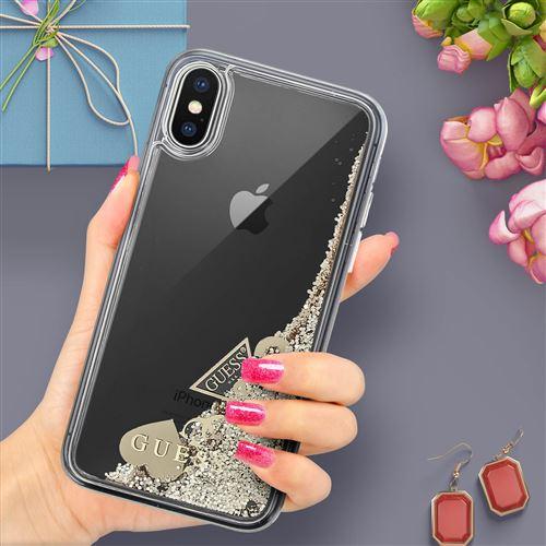 coque iphone xs max liquide paillette
