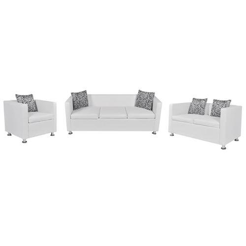 vidaXL Jeu de canapé à 2 places et à 3 places et fauteuil Blanc
