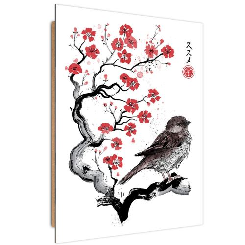 Feeby Image Tableau panneau décoratif Art moderne, Moineau sur ceriser japonais 70x100 cm