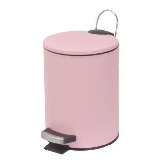 Frandis poubelle de salle de bain a pédale 3 l rose pale mat ...