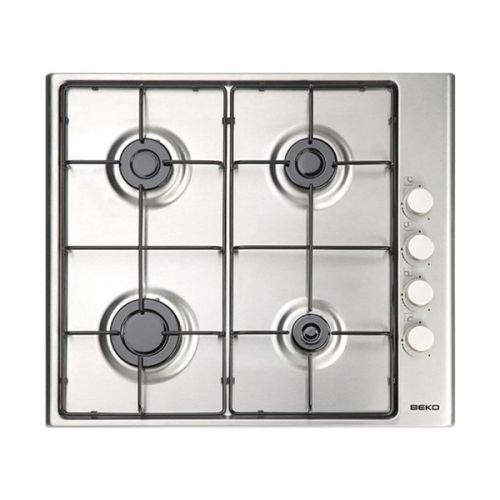 Beko HIZG 64101 SX - Table de cuisson au gaz - 4 plaques de cuisson - Niche - largeur : 56 cm - profondeur : 49 cm - argent - avec bord à facettes - acier inoxydable