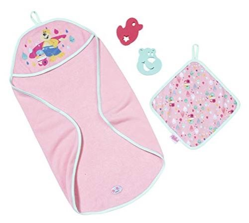 Coffret sortie de bain rose baby born 4 pieces - accessoires poupon / poupee zapf