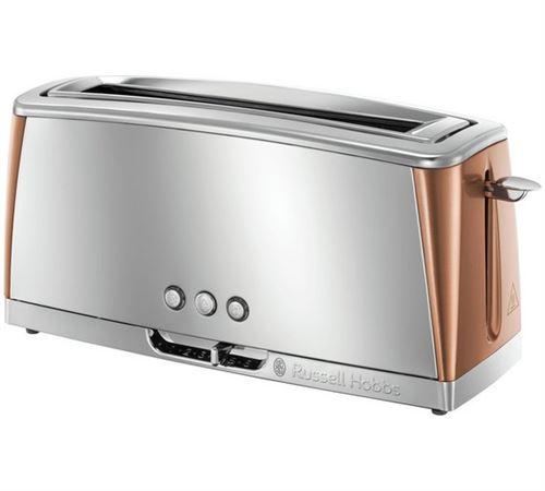 Grille-pain gris inox & cuivré rosé - technologie fast toast, 55% plus rapide, 1 longue fente, réch. Viennoiserie