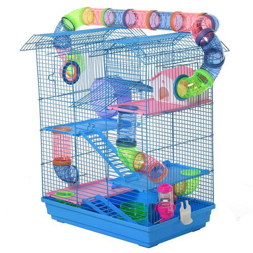 Cage pour Hamster Souris Petit Animaux Rongeur avec Tunnel Mangeoire Roue Jouet 47 x 30 x 59 cm cm Bleu