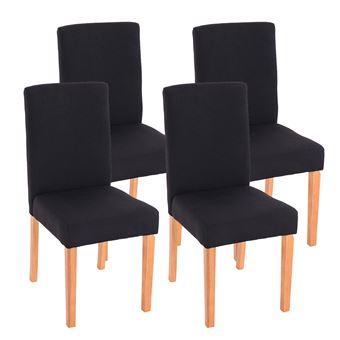 Chaise Noir Salle A Manger.Lot De 4 Chaises De Salle A Manger Littau Tissu Noir Pieds Clairs