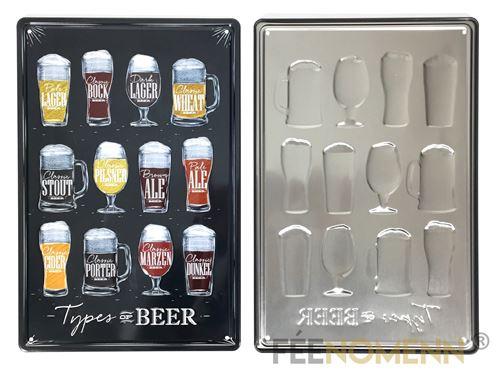 plaque métal déco vintage - effet relief - les différents types de bière - façon ardoise (20x30cm)