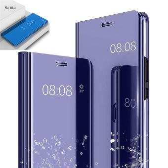 Etui Housse HUAWEI P30 LITE Clear Miroir Coque Transparent Folio Bleu
