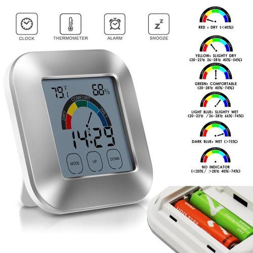 Thermomètre intérieur Humidité Moniteur tactile Rétro-éclairage Affichage numérique_Kiliaadk29