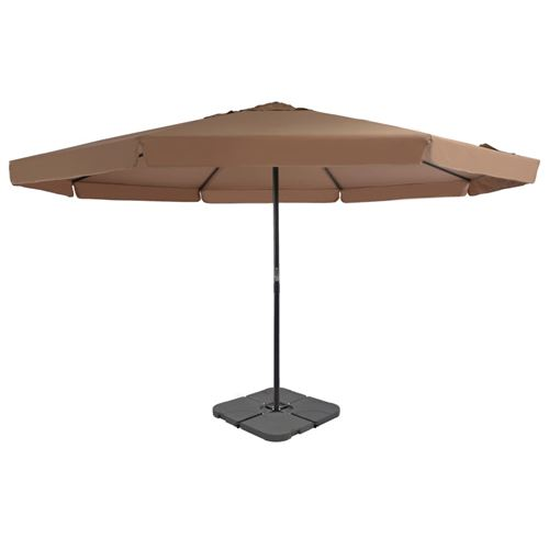 Parasol avec base portable 3.85 x 5 m Taupe