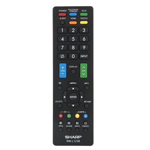 Télécommande De Contrôleur De Télévision En Abs Pour Sharp Rm-L1238 Noir