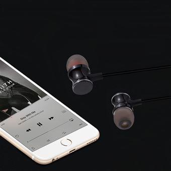 Ecouteurs Bluetooth Metal avec Telecommande pour Smartphone Sans Fil Bouton Son Kit Main Libre INTRA AURICULAIRE Universel (NOIR)