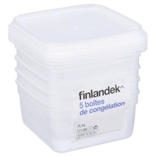 Finlandek lot de 5 boîtes de congélation carrée - 0,50l 181796