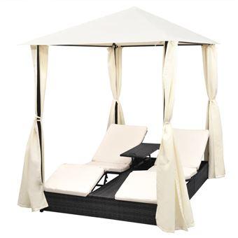 vidaXL Chaise longue double avec rideaux Résine tressée Noir ...