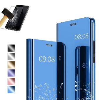 Coque Etui Housse Compatible pour Le Huawei Y6 2019 Miroir Stand Cover-Bleu Film Verre Trempé pour Une Protection Intégrale.
