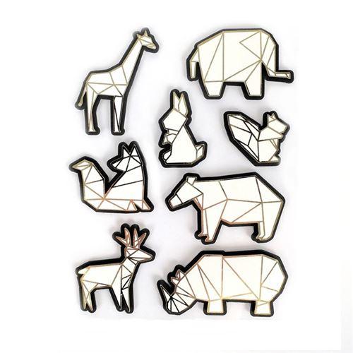 8 stickers 3D animaux du zoo 6 cm