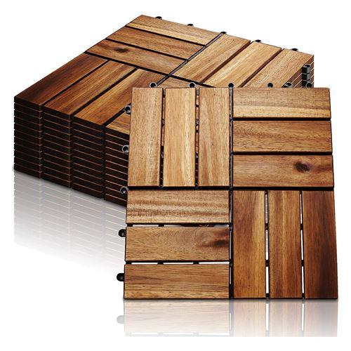 Lot de 33 Dalles de Terrasse Clipsable en Bois 31 X 31 cm Hobby Tech