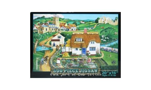 Folk Art of Bob Pettes 500-Piece Jigsaw Puzzle Blue Gate Cottage