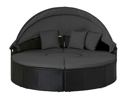 Calvi - Salon de jardin rond - en résine tressée - bain de soleil avec auvent - Noir avec coussins gris Couleur - Noir