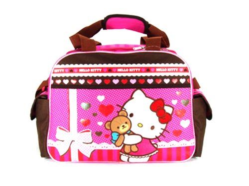 Sac de sport Hugo Kitty Teddy Bear Hug rose et marron - Sac de voyage Hello Kitty