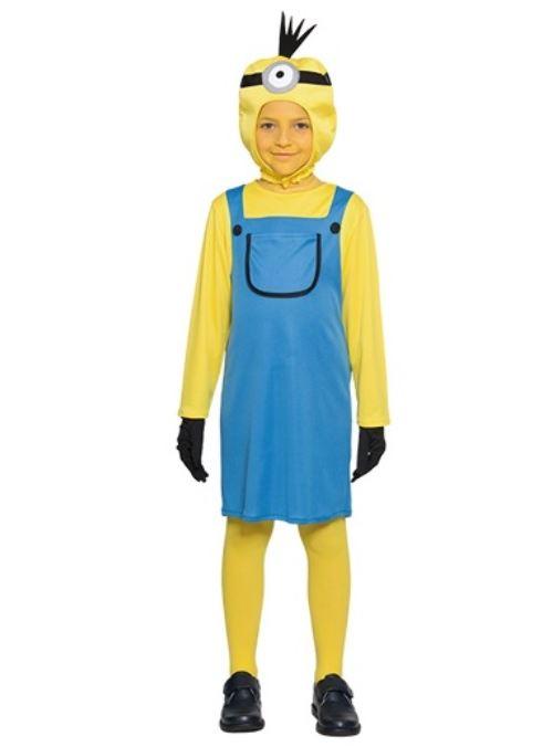 Deguisement minion fille 7-9 ans (robe + cagoule + gants) - costume enfant - panoplie - fete