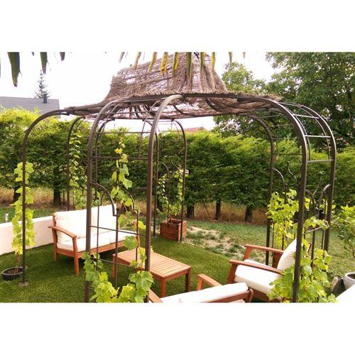 L\'Héritier Du Temps - Gloriette princess x-large tonnelle pergola de jardin  abris ovale en fer forgé peinture epoxy marron martelé 300x420x300cm