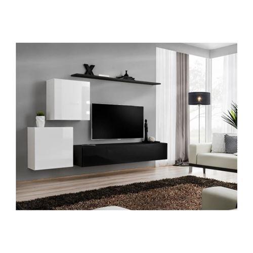 Ensemble meuble salon SWITCH V design, coloris noir et blanc brillant.