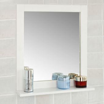 SoBuy® FRG129-W Miroir Mural Meuble Salle de Bain 1 étage Plateau  L40xP10xH49cm- Blanc