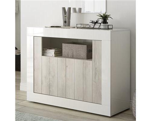 Bahut 110 cm couleur pin et blanc laqué moderne SERENA 3 - Blanc - L 110 x P 42 x H 86 cm