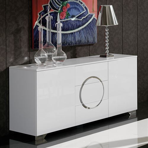 Buffet bahut blanc laqué 2 portes 3 tiroirs design BISHOP - Blanc - L 160 x P 50 x H 78 cm