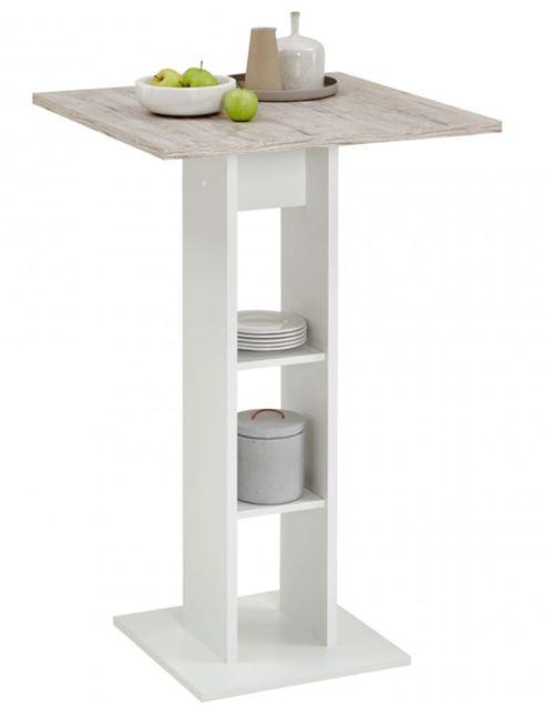 Table de bar / table haute coloris blanc/chêne sable - L.70 x H.109 x P.70 cm -PEGANE-