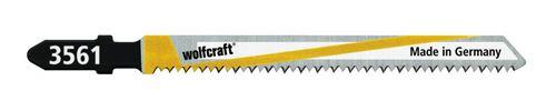 Wolfcraft 3561000 2 Lames de Scie Sauteuse Bim, Queue en T, Longueur Dentée 75 Mm, Dents Pointues Avoyées Et Rectifiées, Pas de Dents 1,65 Mm, Dos Conique