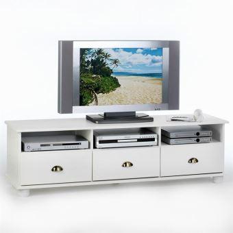 meuble banc tv vintage pin massif lasur blanc achat prix fnac. Black Bedroom Furniture Sets. Home Design Ideas