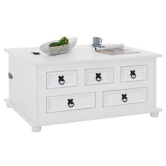 pin blanc rectangulaire rangement en style massif lasuré mexicain Table coffre 5 TEQUILA avec bois basse tiroirsen rtQhsd