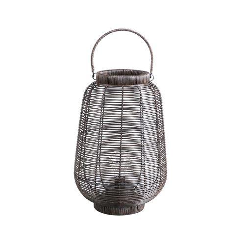 Lanterne ethnique tressée à LED Natural Living GM - Marron foncé