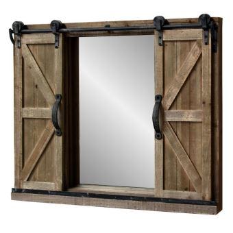 Miroir Industriel Campagne Fenêtre à Volets Coulissants Bois Fer