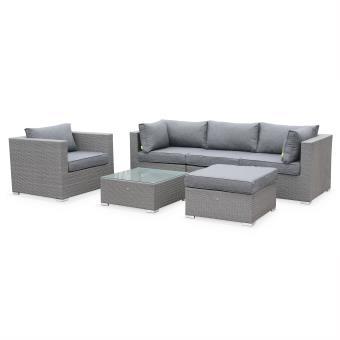 Salon de jardin table en résine tressée grise 5 places Caligari canapé  fauteuil - Alice\'s Garden